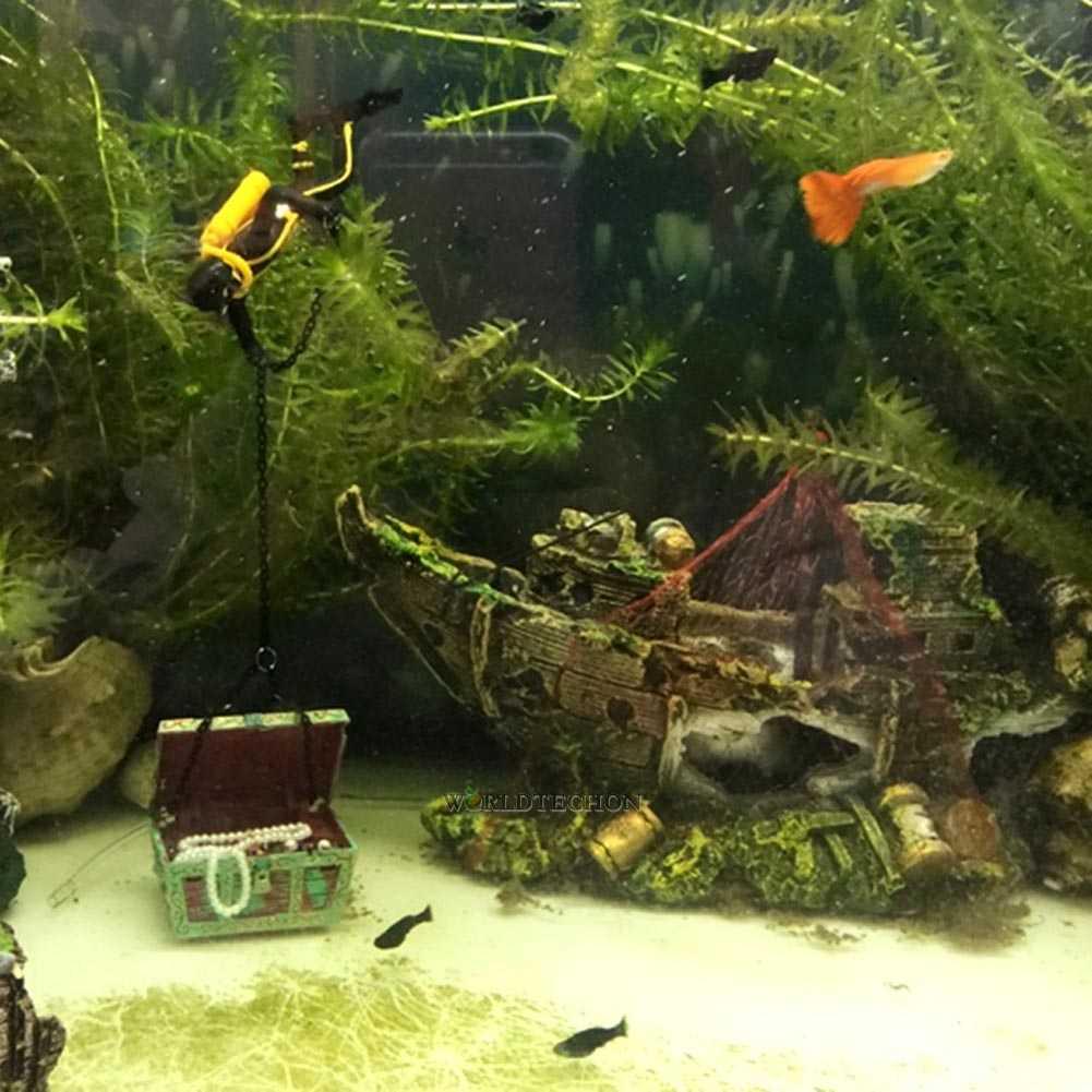 Aquarium ornament sunken steamboat fish fish tank cave for Fish tank shipwreck