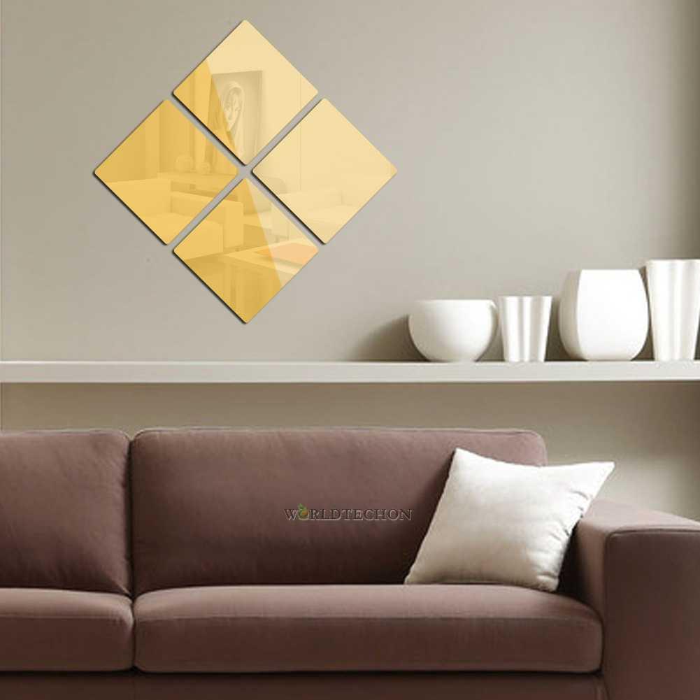 Gold Square Wall Decor : Square modern mirror wall home room decal decor vinyl art