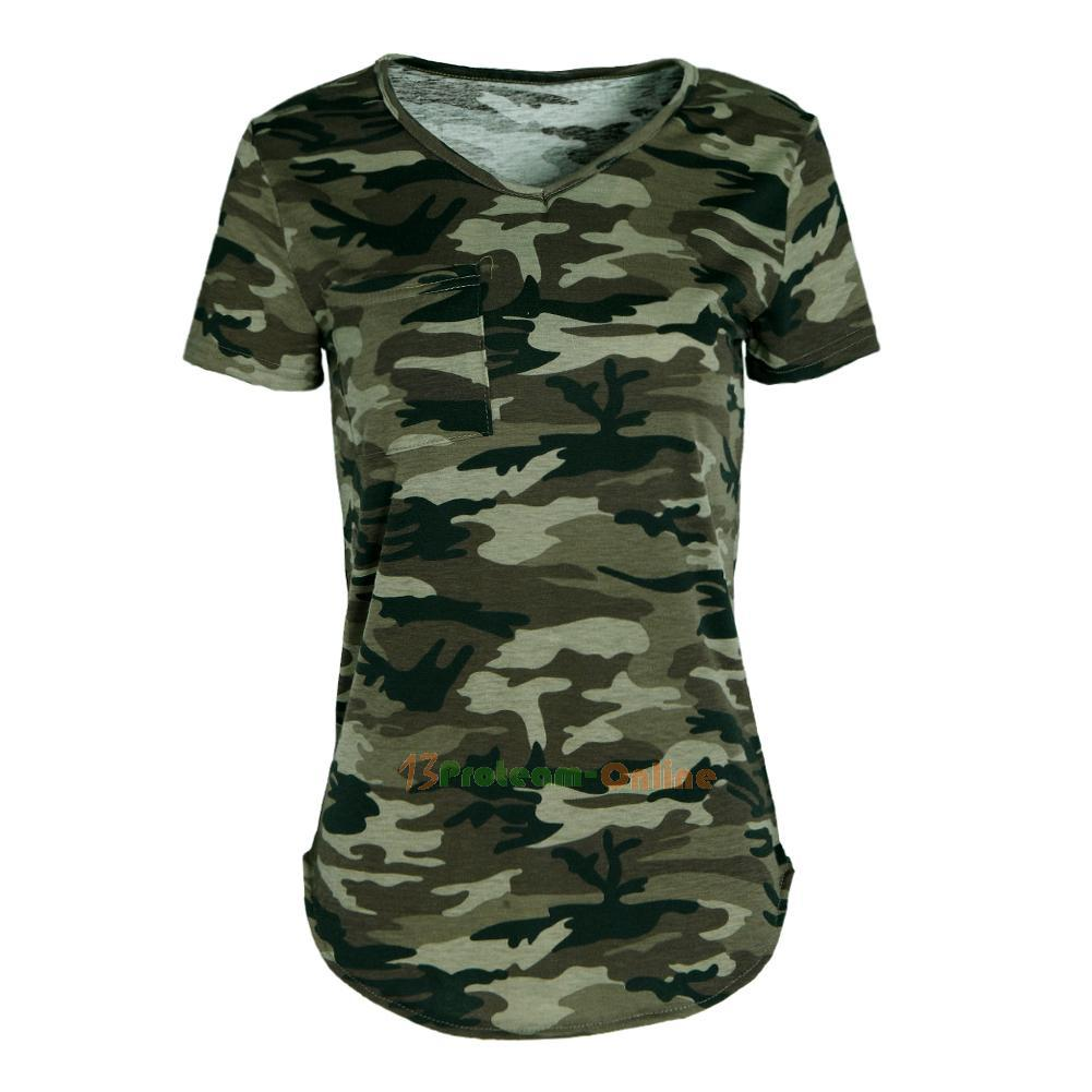 Womens Casual V Neck Camouflage Military Camo Short Sleeve